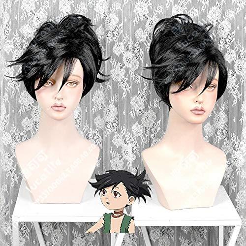 Anime Dororo Hyakkimaru Corto Negro Clip de cola de caballo Pelo resistente al calor Cosplay Disfraz Pelucas + Peluca gratisRosa