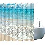 GOODCARE Ocean Shower Curtain Sea Beach Blue Sea Golden Sand White Spraywith Bright Skyline Printed Fabric Bathroom Decor Set with Hooks 71x71Inches Blue White