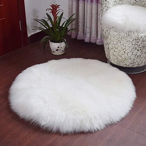 YDFYX Lammfell Schaffell Teppich Kunstfell Dekofell in Super weich Lammfellimitat Teppich Longhair Fell Optik Nachahmung Wolle Bettvorleger Sofa Matte (A-Weiß, 45 x 45cm)