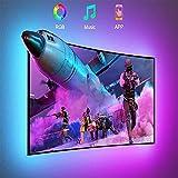 Tira LED TV 2.2m USB, Luz LED Adhesiva RGB con Control App, 16 Millones Colores y 20 Modos, Sincronización de música...