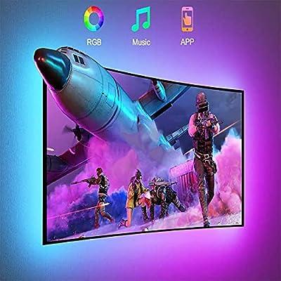 """【APP y control de Bluetooth】 Esta tira de luz de TV está controlada por la aplicación """"LED LAMP"""". Al conectar la APLICACIÓN a través de Bluetooth, puede elegir entre 16 millones de colores y 20 modos dinámicos como parpadeo, salto, luz estroboscópica..."""