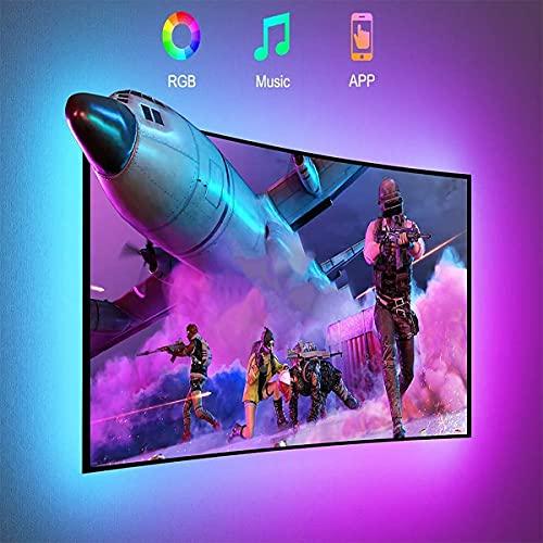 Tira LED TV 2.2m USB, Luz LED Adhesiva RGB con Control App, 16 Millones Colores y 20 Modos, Sincronización de música Iluminacion Luces LED TV Escenas para 32-60in HDTV/PC Monitor
