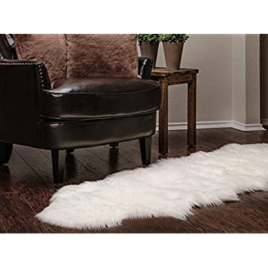 Chanasya Super Soft Faux Fur Fake Sheepskin White Sofa Couch Stool Casper Vanity Chair Cover Rug/Solid Shaggy Area Rugs For Living Bedroom Floor - Off White 2ft x 6ft
