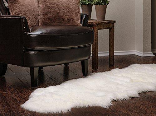 Chanasya Faux Fur Fake Sheepskin White Cover Rug/Solid Shaggy Area Rugs for Living Bedroom Floor - Off White 2ft x 6ft