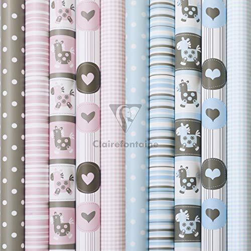 Clairefontaine 211415AMZC - Un carton de 12 rouleaux de papier cadeau 2 m x 70 cm 80g, motifs assortis Swan Excellia