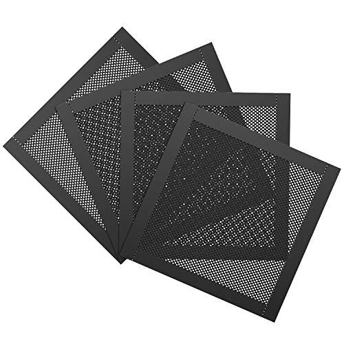 MoKo 120 mm PVC PC Kühler Lüfter Staub Filter, 4er-Pack Magnetrahmen PC-Lüfter Staubschutzgitter PC-Kühlerfilter PVC Staubschutzabdeckung Computer-Lüftergitter - Schwarz
