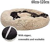 Lrhps Deluxe-Haustierbett,Kuschelkissen für Hunde und Katzen, weich, waschbar,für Katzen und kleine bis mittelgroße Hunde (Brown, 100CM)