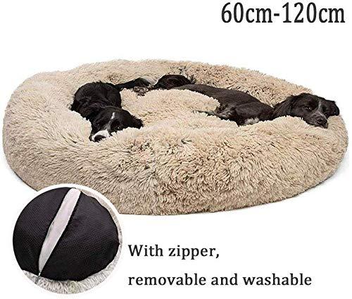 Lrhps Deluxe-Haustierbett,Hundebett mit kuscheligem Plüsch,Donut Cuddler Haustierbett,Mittelgroße und Große Hunde atmungsaktiv,Braun,100 * 100cm