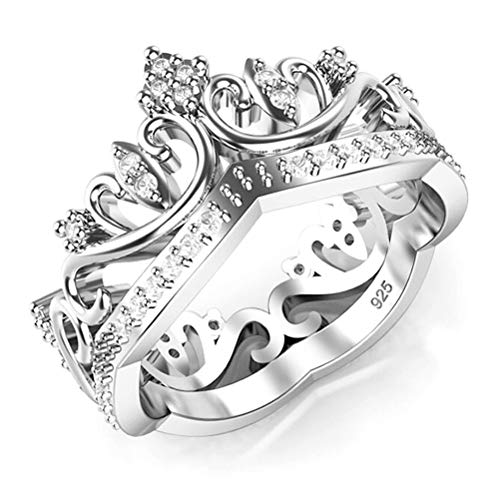Metal Factory Sz 11 Sterling Silver Cubic Zirconia Princess Crown CZ Band Ring