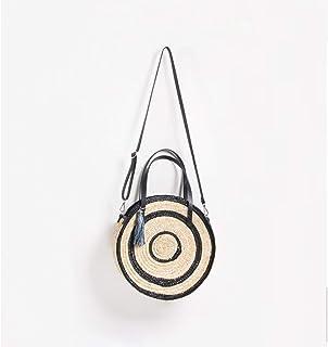 GSERA Große Tasche Strohsack Handgewebte Tasche Damen Schulter Quasten Runde Strandtasche