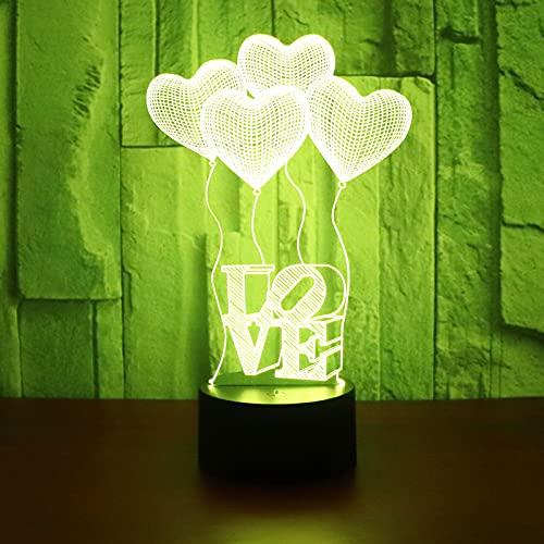 Eld Globo de Amor con Luces de Noche LED 3D con luz de 7 Colores para la decoración del hogar Lámpara Visualización increíble Ilusión óptica Regalo del día de los niños Impresionante