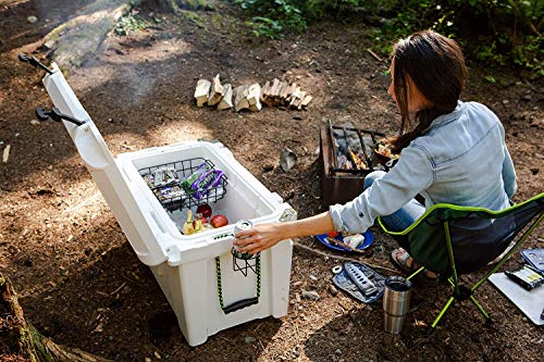Cascade Mountain Tech 80-Quart Rotomolded Cooler with Basket, and Cup Holder and Built-in Bottle Opener