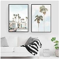 ココナッツ椰子の木の建物の風景壁アートキャンバス絵画ポスターとプリント壁の写真リビングルームの家の装飾-(70x90cm)x2pcsフレームレス