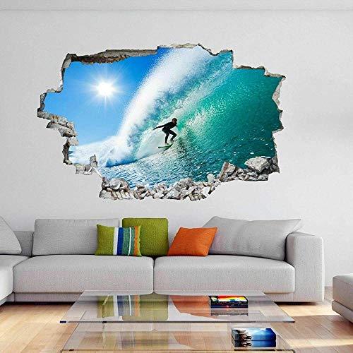 Pegatinas de pared - 3D- Surfer Blue Wave Sea Surfing Deportes acuáticos Etiqueta de la pared Calcomanía mural - 50×70cm