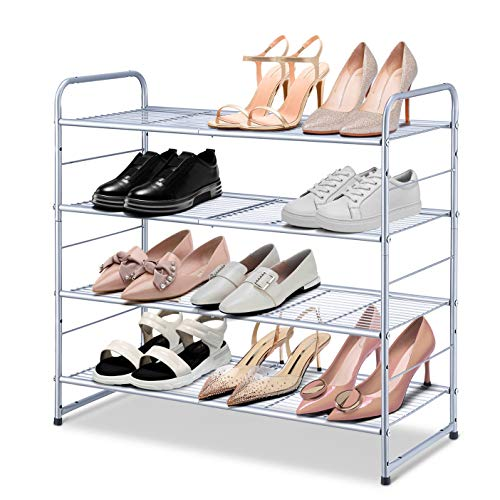 Simple Trending 4-Tier Stackable Shoe Rack, Expandable & Adjustable Shoe Organizer Storage Shelf, Wire Grid, Silver
