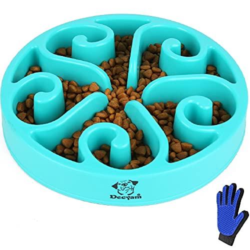 Decyam Anti Schling Napf Hund Hundenapf Langsame Fütterung Langsam Fressen Slow Feeder Dog Bowl (Large, Blau Flower)
