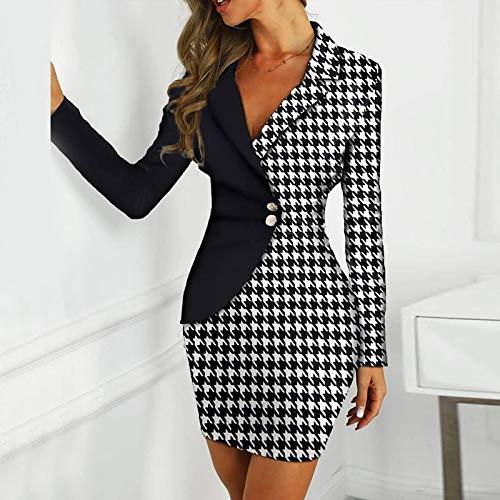 WDLZB Vestir Mujer,Office Lady Botón Delgado Bodycon Vestido Elegante Profundo V-Cuello Cadena...