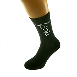 Trust me I'm a Vet and Stethoscope Image Printed on Black Mens Cotton Rich Socks