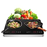 COOKTRON Double Induction Cooktop Burner with Fast Warm-Up Mode, 1800w 2 Induction Burner with 10 Temperature 9 Power Settings, Portable Dual Induction Cooker Cooktop with Child Safety Lock & Time