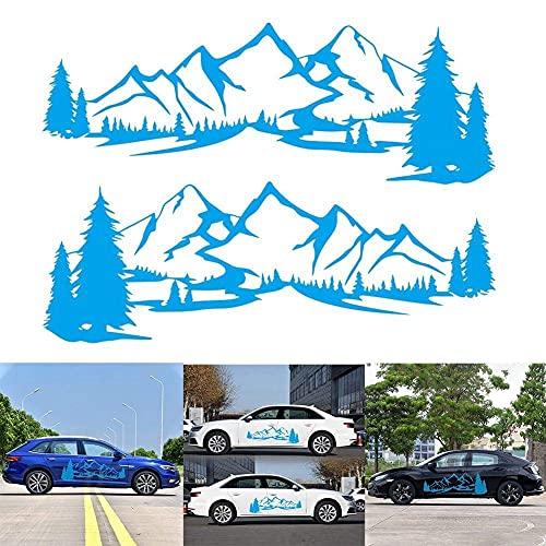 Aizhen 1 par/2 unids coche adhesivo reflectante montaña árbol bosque vinilo pegatinas gráficas kit para camper RV Remolque puerta panel pegatinas parachoques para coche etiqueta lateral