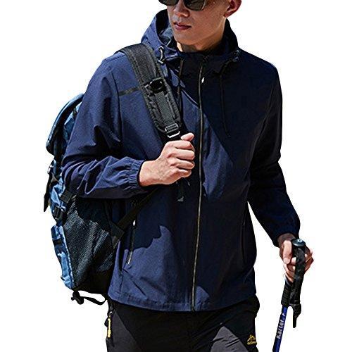 Femme Homme Vestes Monocouche Élasticité Coupe-Vent Imperméable à Capuche Camping Jacket Bleu foncé L