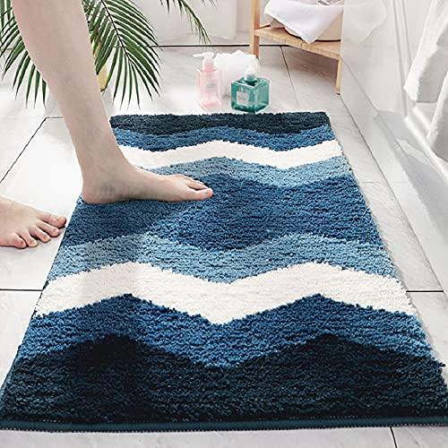 Alfombras de baño, suave alfombra de felpa de ducha, de microfibra, absorbente, antideslizante, de secado rápido, lavable, 50,8 x 81,5 cm, color azul ondulado
