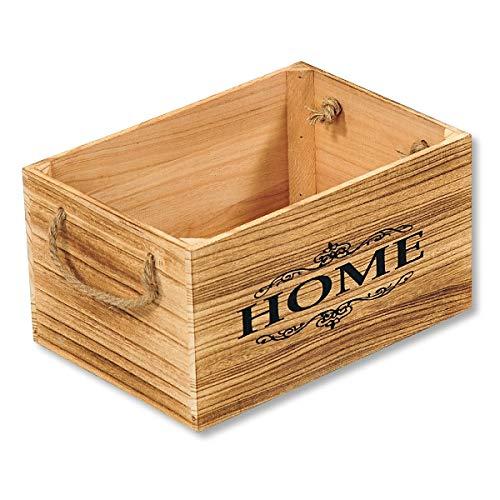 KESPER 69492 Aufbewahrungs- & Deko-Kiste HOME 30 x 21 x 16 cm, Paulowniaholz/Holzkiste/Dekokiste
