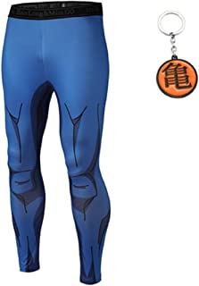 Mens DBZ Gym Workout Compression Pants Dragon Ball z and Naruto Tight Pants with Free Keychain