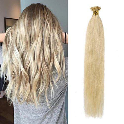 SEGO Extension Cheratina Capelli Veri Biondi 100 Ciocche I-Tip Extensions 50g 100% Remy Human Hair Umani (55cm #613 Biondo Chiarissimo)