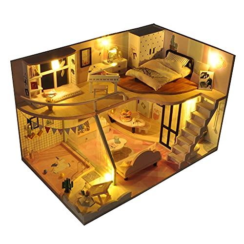 Kit de casa de muñecas en miniatura de Navidad, mini realista, con luces LED de muebles, 3D, casa de madera, manualidades, día de los niños, regalo de cumpleaños, decoración de Navidad