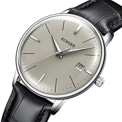 SW Watches BINGER Schweiz Herrenuhren,Saphir-Japan-Bewegungs-automatische mechanische beiläufige Armbanduhr 5078 Grauer Spiegel,E