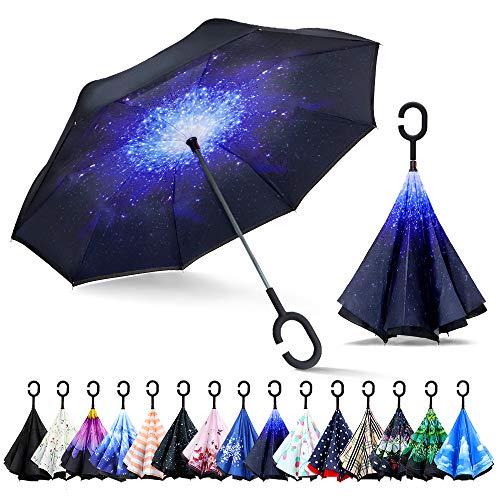 ZOMAKE Inverted Stockschirme, Innovative Schirme Double Layer, Winddicht Regenschirm, Freie Hand,Umgedrehter Regenschirm mit C Griff für Auto Outdoor (Sterne)