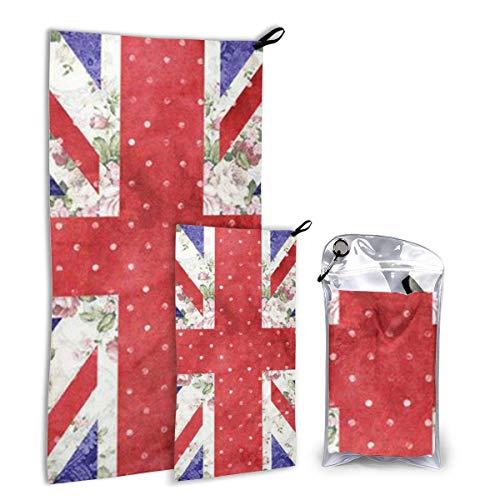 Lawenp Secado rápido rápido ¤ Ultra Compacto ¤ Ligero, Bandera Floral de Gran Bretaña Toallas de Microfibra Gimnasio Viaje Campamento Mochila