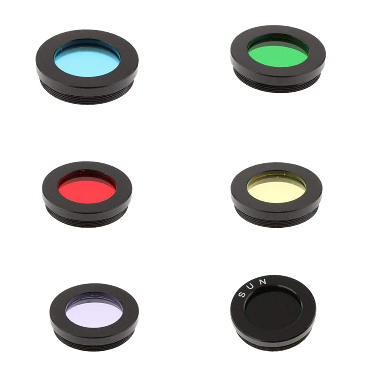 kesoto 6 Colors 1.25inch Telescope Eyepiece Lens Color Filter Set for Astronomy Accessory Kit Moon Planet Sky Object Metal