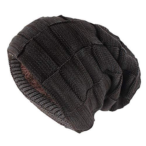 Bonnet Unisexe Chapeau tricoté Homme Beanie Hats,Skullies Bonnets HiverMode pour Hommes WarmHat Knitted Unisexe Solide Femmes en Hats @ Brown_52-62cm
