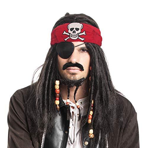 Kostümplanet Piraten Perücke Herren Set mit Bart und Totenkopf Kopftuch für Pirat Kostüm