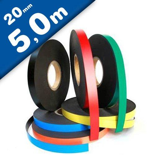 Magnetband Kennzeichnungsband farbig, Breite 20mm - 5m Rolle - Magnetstreifen - Zum Beschriften und Markieren, von Lager, Werkstatt, für Whiteboards, Flipcharts, Präsentationen, Farbe:weiss