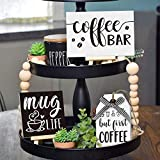 Huray Rayho Coffee bar Tier Tray Decorations Kitchen Coffee Station Supplies But First Coffee Sign for Farmhouse Tiered Tray Coffee Theme 3D Signs Mug Life Rae Dunn Collections
