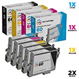 LD Remanufactured Ink Cartridge Replacement for Epson 60 T060 (2 Black, 1 Cyan, 1 Magenta, 1 Yellow, 5-Pack)