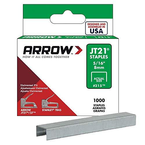 Arrow 160728 Boîte de 1000 agrafes jt21 8 mm, Argent