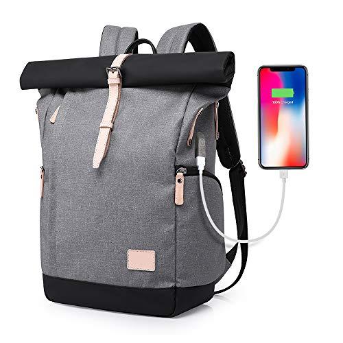 Für größere Ansicht Maus über das Bild ziehen XIAOYAO Laptop Rucksack Damen Herren Tagesrucksack Schulrucksack College-Rucksack Backpack Wasserdicht USB Rucksack 15,6 Zoll (Grau)