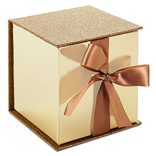 Hallmark Signature 4' Small Gift Box with Paper Fill (Gold Glitter) for Weddings, Engagements, Graduations, Holidays, Christmas, Valentines Day and More