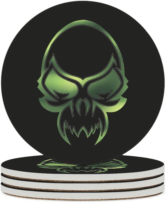 Alskyonyg Green Skull Head Ceramic with Cork Cheap Coaster Mail order cheap Backi Round