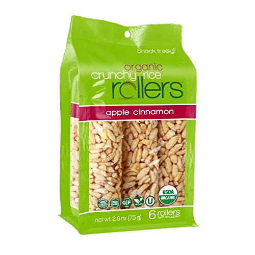 Crunchy Rice Rollers - Organic Snacks - Gluten Free - Allergy Friendly - Apple Cinnamon (4 Packs of 6 Rollers)