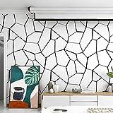 Papel Pintado Wallpaper Fondo de pantalla nórdica moderna minimalista geométrico Blanco y Negro imitación de piedra papel tapiz de PVC material ideal for sala de estar dormitorio Fondo del café restau