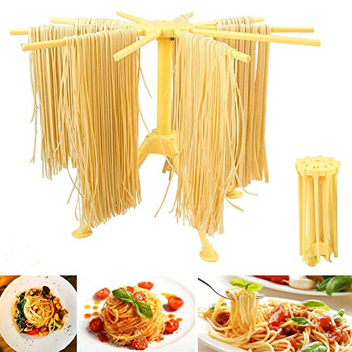 HOUPDA Pasta Drying Rack Collapsible, Noodle Stand With 10 Bar Handles Spaghetti Dryer Stand,Household Noodle Dryer Rack Hanging for Home Use (Yellow)
