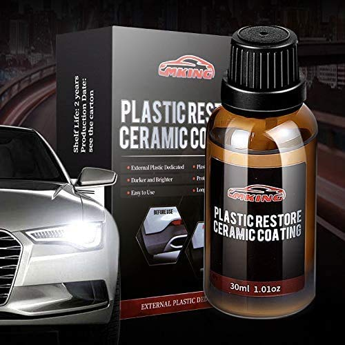 MKING Plastic Restore Ceramic Coating kit (30ml-External Plastic Dedicated, Plastic Restore Like New,Darker and Brighter,Protect Plastic Trim,Easy to Use,Long Lasting Protection