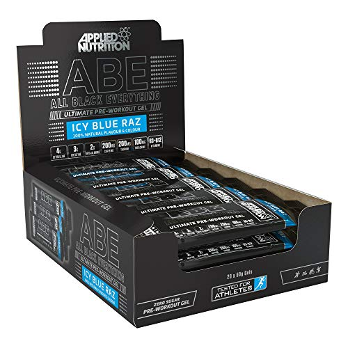 Applied Nutrition ABE Pre Workout Energy Gel, Increases Physical Performance with Citrulline, Creatine, Beta Alanine, Caffeine, Vitamin B Complex - All Black Everything Box 20 x 60g (ICY Blue Raz)