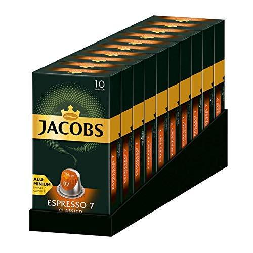 Jacobs Kapseln Espresso Classico, Intensität 7,100 Nespresso®* kompatible Kaffeekapseln, 10er Pack, 10 x 10 Getränke