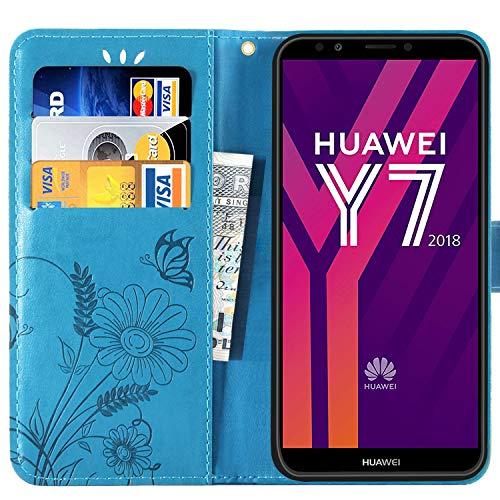 kazineer Hülle für Huawei Y7 2018, Handyhülle Leder Tasche Flip Case mit Standfunktion Schutzhülle kompatibel mit Huawei Y7 2018/ Y7 Prime 2018 (Türkis-Blau) - 2